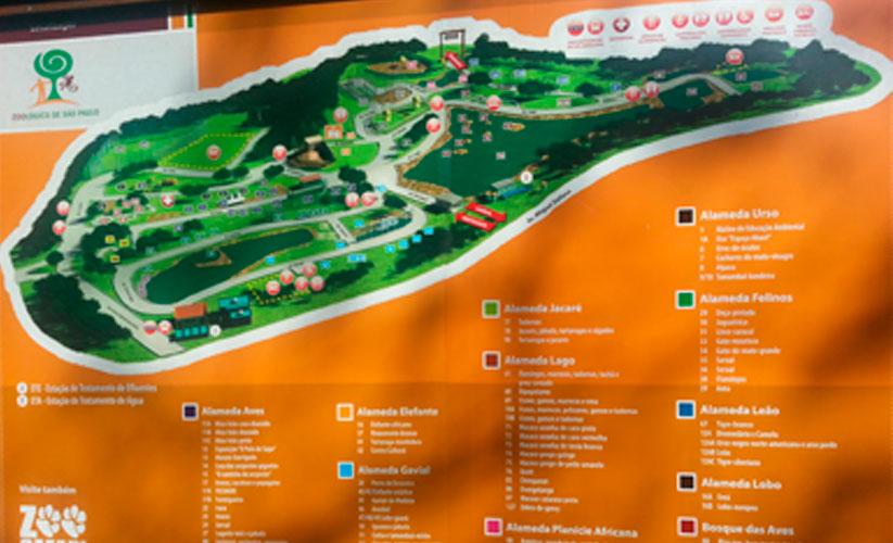 Foto do mapa do zoológico de São Paulo