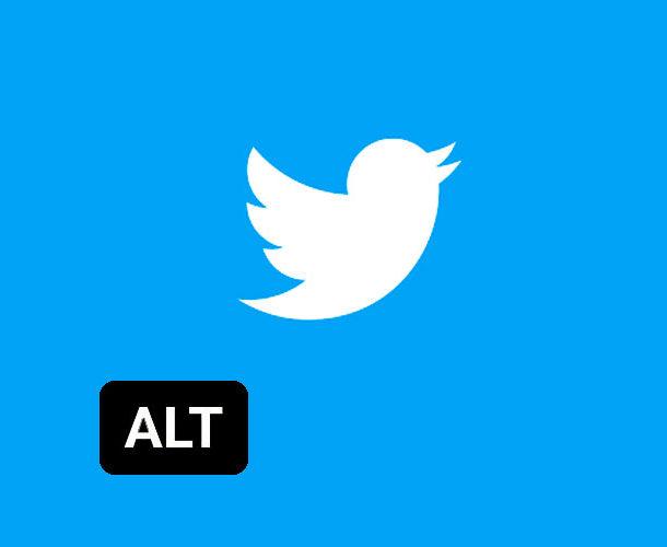 Logo do Twitter em um fundo azul. Abaixo a esquerda há um box escoro com as letras ALT em maiusculo