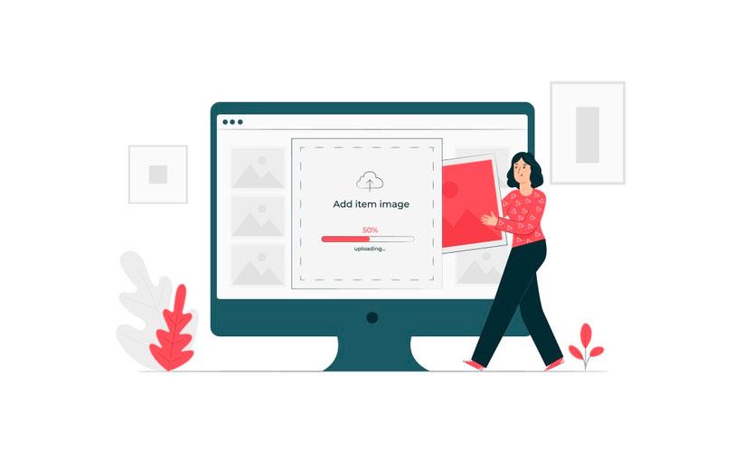 Ilustração de um grande monitor. Há uma aplicação carregando uma imagem e uma mulher carrega uma foto para dentro desse monitor