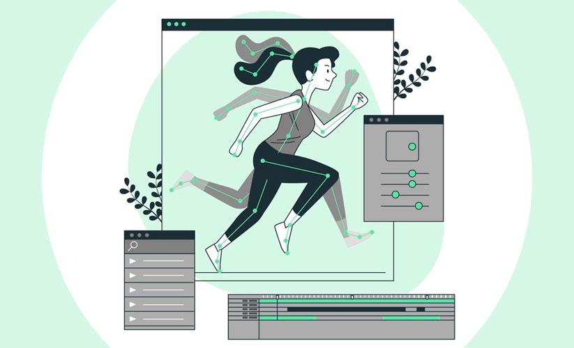Ilustração que representa a criação de uma animação. Na tela há uma mulher correndo com linhas que demarcam o movimento de suas juntas. Ao lado existem alguns painéis que representam ajustes de vídeo