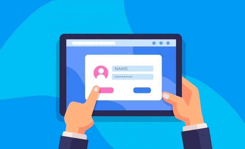 Ilustração de um tablet sendo segurado por uma mão. Na tela há um formulário com campos de nome e senha. Na mão esquerda um dedo aponta para um botão rosa.