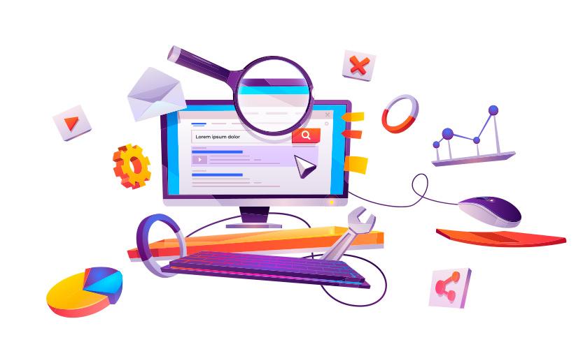 Ilustração de um computador com uma página Web na tela. Em volta do computador há uma série de ferramentas, como lupa, chave inglesa, engrenagem dentre outras. Todas flutuando pela tela